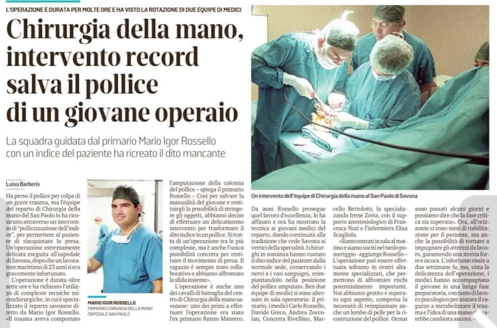 Chirurgia della mano, intervento record salva il pollice di un giovane operaio