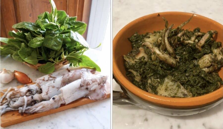 Calamari e spinaci